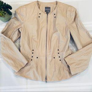 Anthracite Tan Studded Full Zip Jacket Sz 10